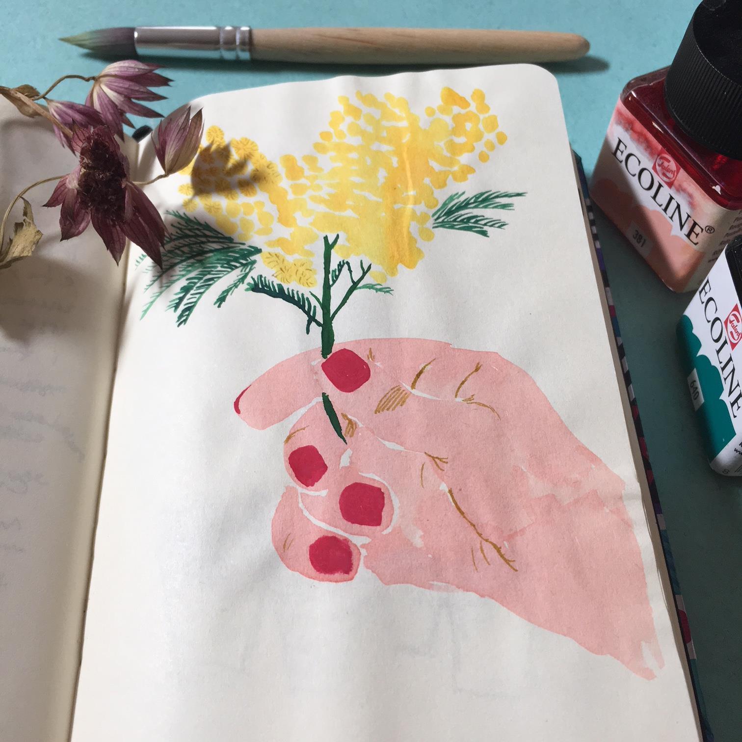venditore-di-mimose-illustrazione-mano-